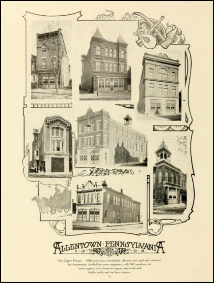 Figure 1. The image shows seven of the fire houses in 1908; the fire house in the middle of the top row is Allen Fire Company (Chamber of Commerce 1908, 32).